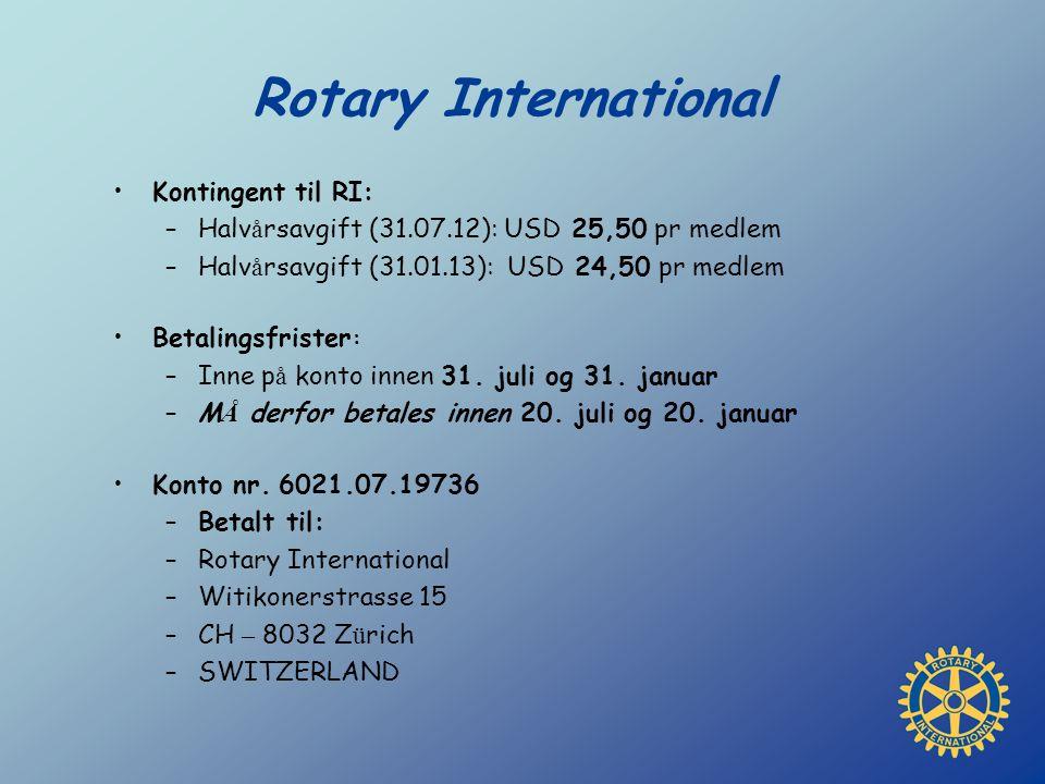 Rotary International Kontingent til RI: –Halv å rsavgift (31.07.12): USD 25,50 pr medlem –Halv å rsavgift (31.01.13): USD 24,50 pr medlem Betalingsfri