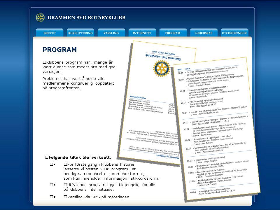PROGRAM Klubbens program har i mange år vært å anse som meget bra med god variasjon.