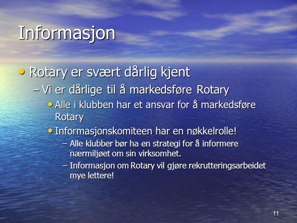 11 Informasjon Rotary er svært dårlig kjent Rotary er svært dårlig kjent –Vi er dårlige til å markedsføre Rotary Alle i klubben har et ansvar for å markedsføre Rotary Alle i klubben har et ansvar for å markedsføre Rotary Informasjonskomiteen har en nøkkelrolle.