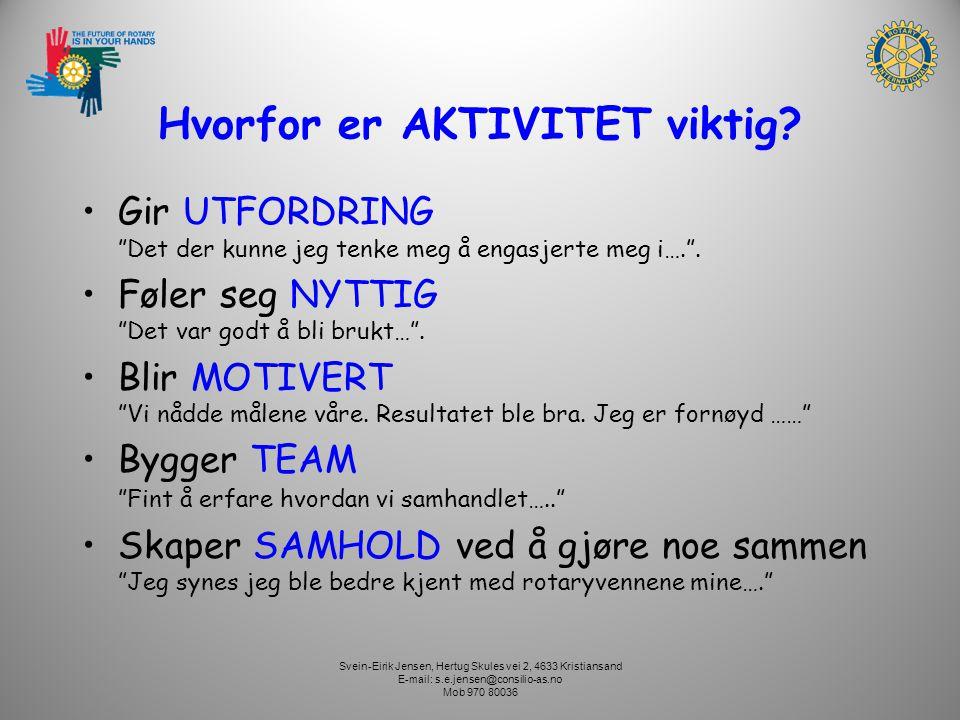 Svein-Eirik Jensen, Hertug Skules vei 2, 4633 Kristiansand E-mail: s.e.jensen@consilio-as.no Mob 970 80036 Hvorfor er AKTIVITET viktig? Gir UTFORDRING