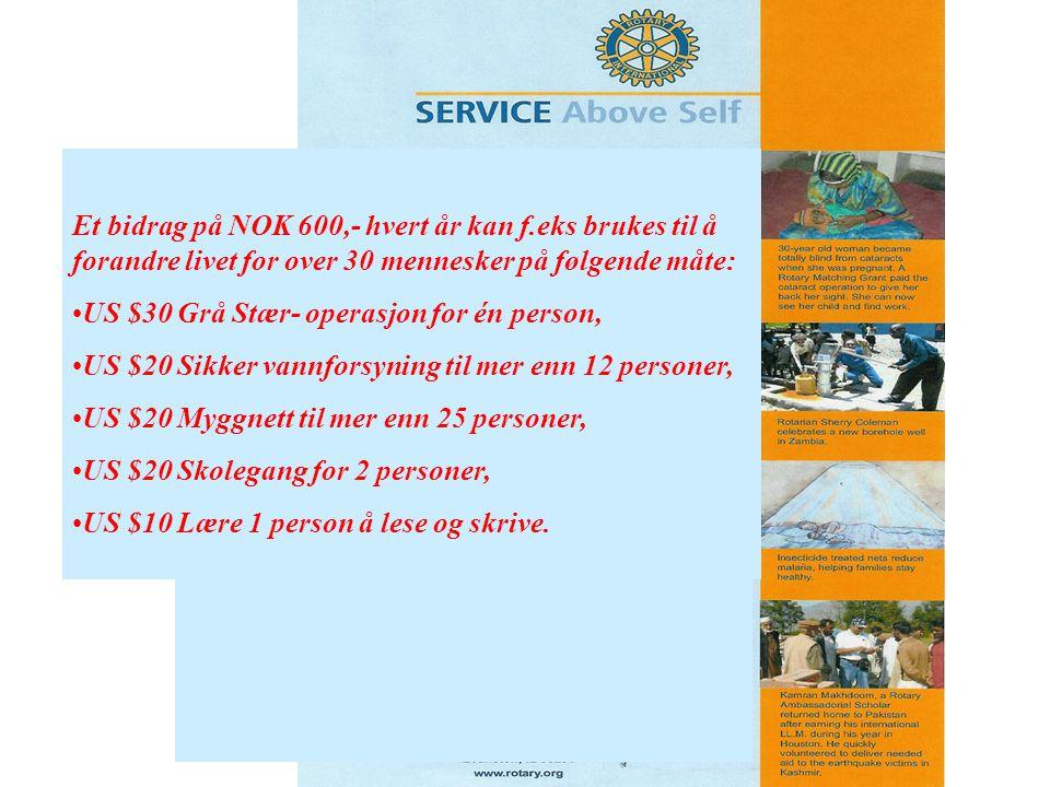 Et bidrag på NOK 600,- hvert år kan f.eks brukes til å forandre livet for over 30 mennesker på følgende måte: US $30 Grå Stær- operasjon for én person