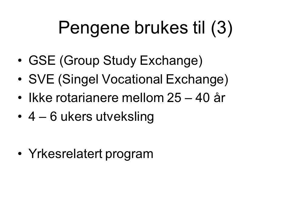 Pengene brukes til (3) GSE (Group Study Exchange) SVE (Singel Vocational Exchange) Ikke rotarianere mellom 25 – 40 år 4 – 6 ukers utveksling Yrkesrela