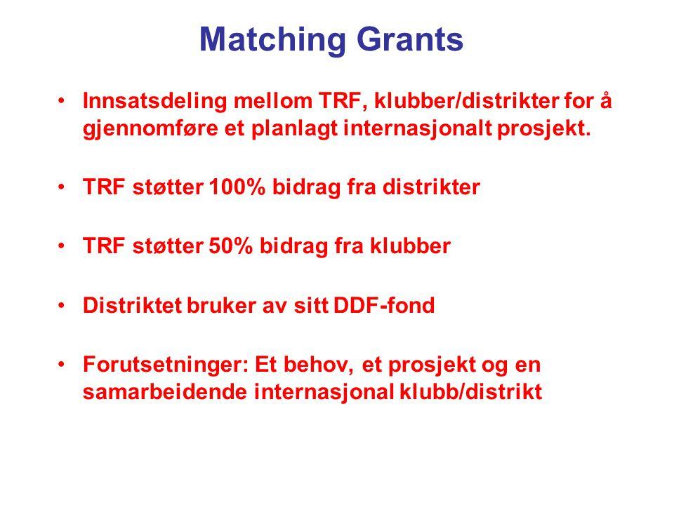Matching Grants Innsatsdeling mellom TRF, klubber/distrikter for å gjennomføre et planlagt internasjonalt prosjekt. TRF støtter 100% bidrag fra distri