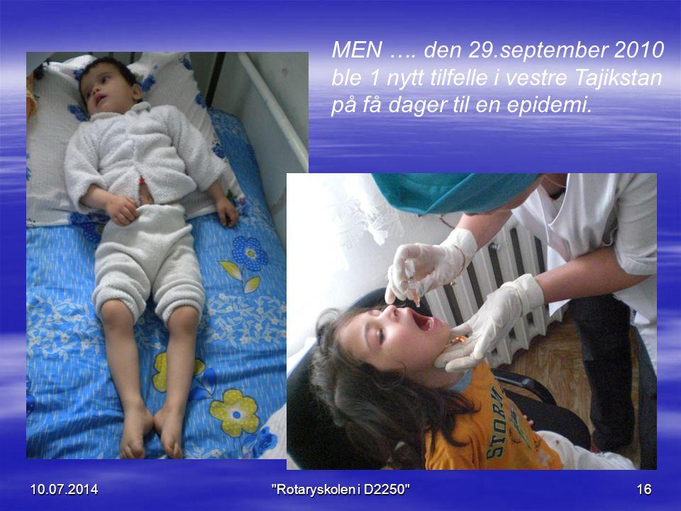 MEN …. den 29.september 2010 ble 1 nytt tilfelle i vestre Tajikstan på få dager til en epidemi.