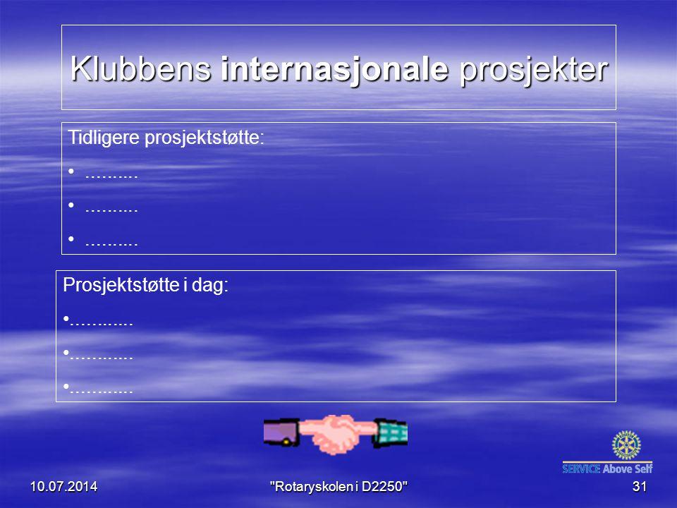 Klubbens internasjonale prosjekter 10.07.2014 Rotaryskolen i D2250 31 Tidligere prosjektstøtte:..........
