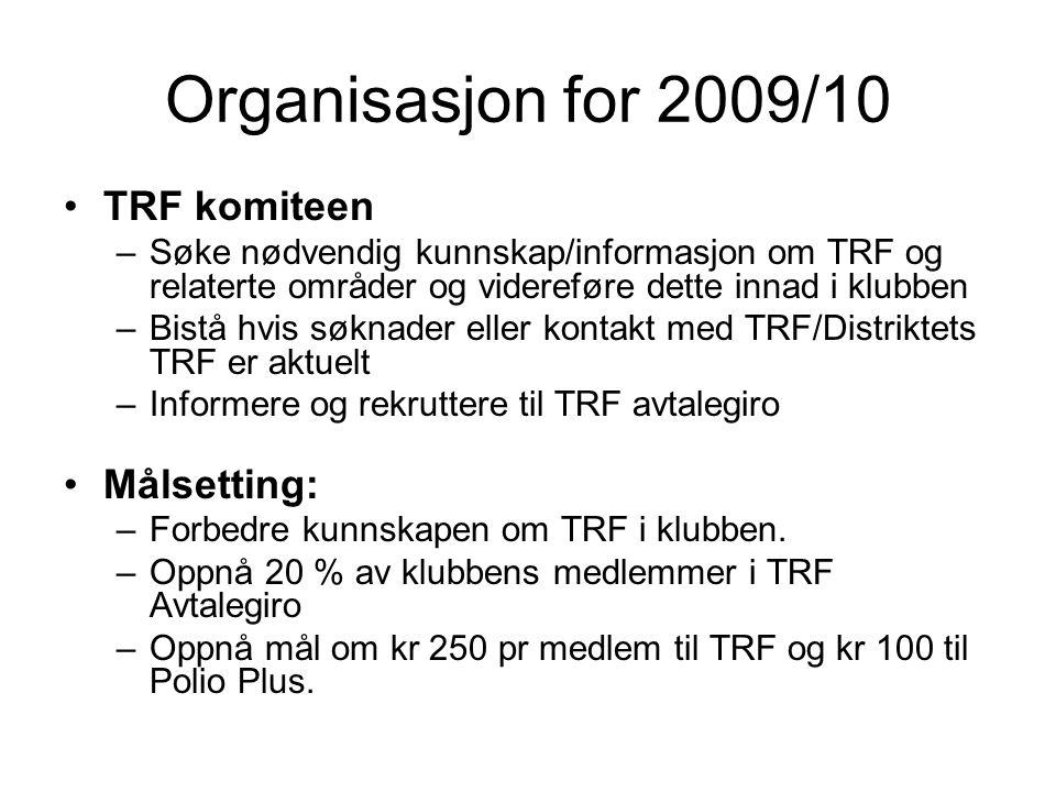 Organisasjon for 2009/10 TRF komiteen –Søke nødvendig kunnskap/informasjon om TRF og relaterte områder og videreføre dette innad i klubben –Bistå hvis søknader eller kontakt med TRF/Distriktets TRF er aktuelt –Informere og rekruttere til TRF avtalegiro Målsetting: –Forbedre kunnskapen om TRF i klubben.