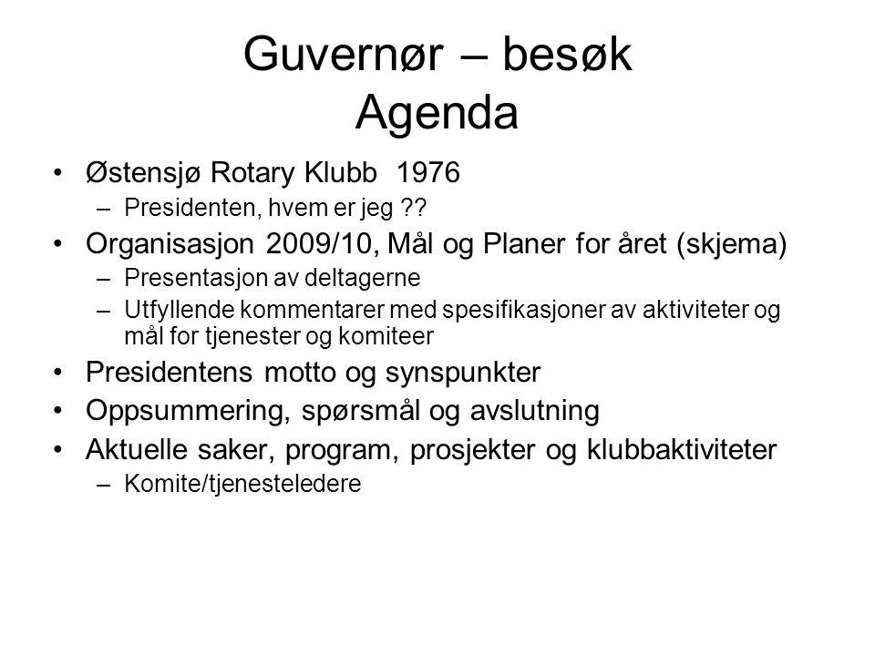 Guvernør – besøk Agenda Østensjø Rotary Klubb 1976 –Presidenten, hvem er jeg .