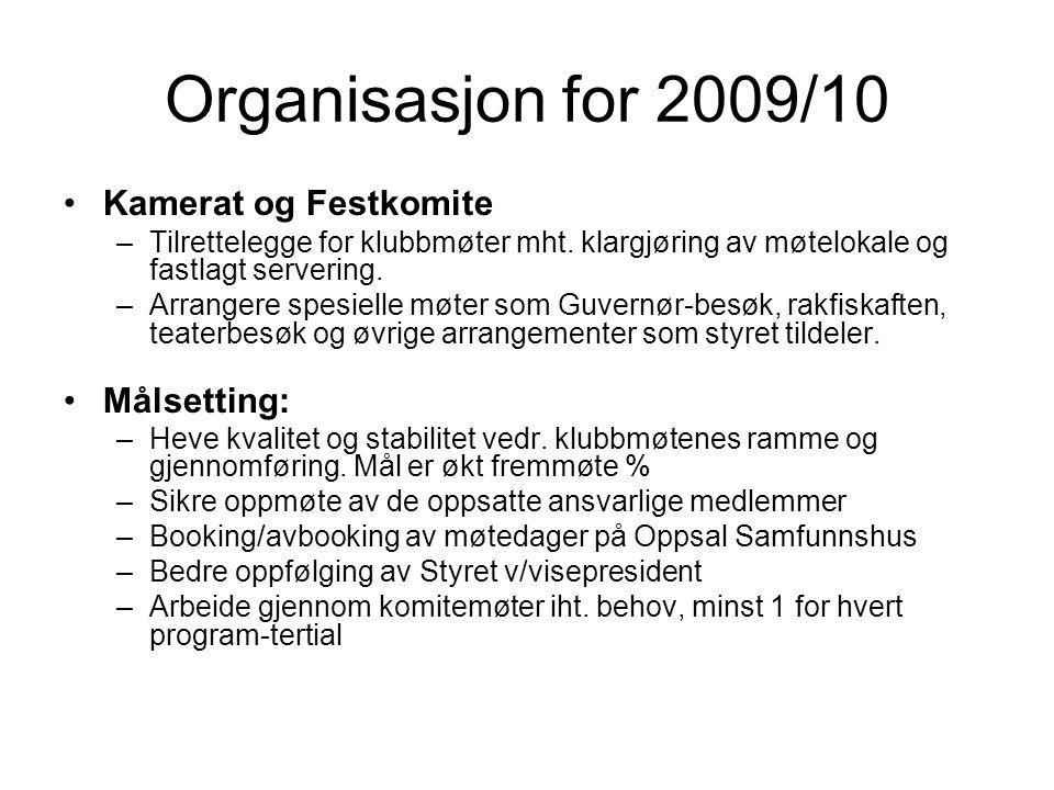 Organisasjon for 2009/10 Kamerat og Festkomite –Tilrettelegge for klubbmøter mht.