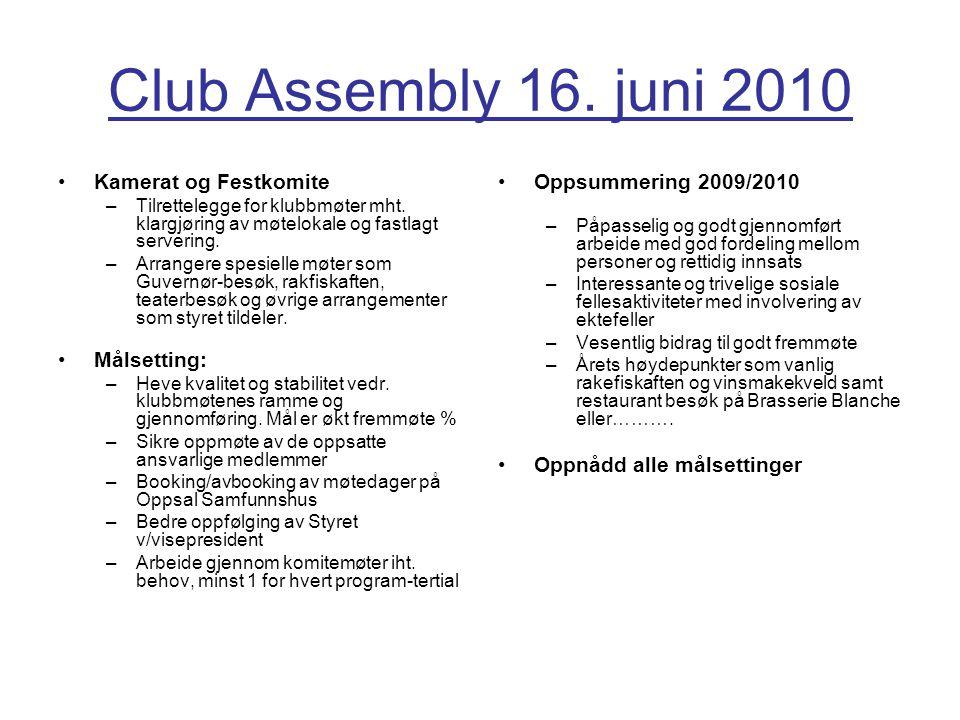 Club Assembly 16.juni 2010 Kamerat og Festkomite –Tilrettelegge for klubbmøter mht.