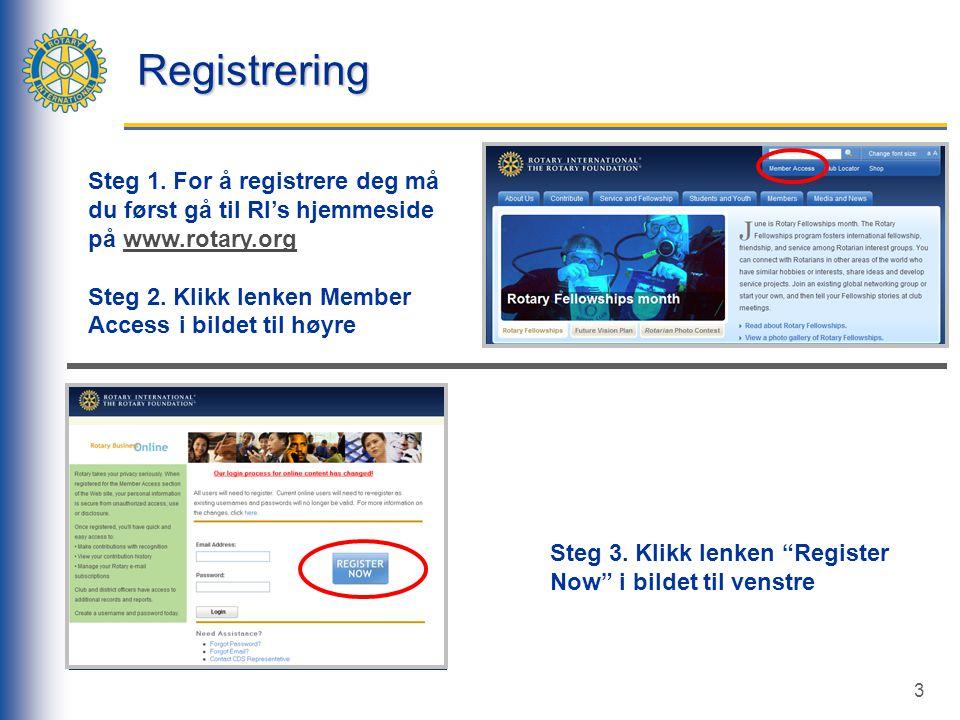 3 Registrering Steg 3.Klikk lenken Register Now i bildet til venstre Steg 1.