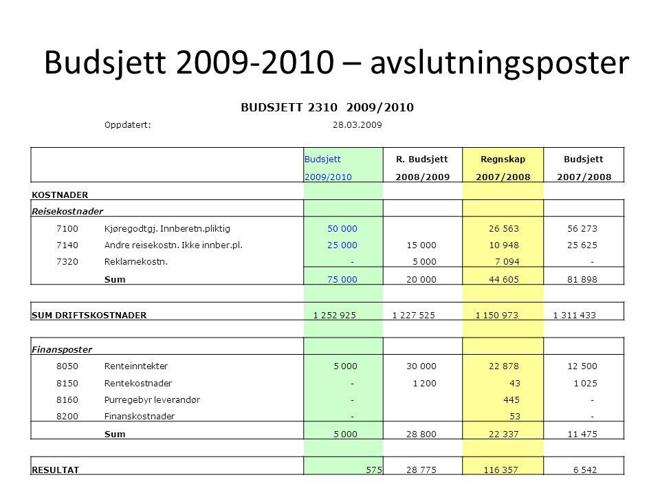 Budsjett 2009-2010 – annonsering av forslag til Årsmøtet i september DGE foreslår en økning av medlemsavgiften med kr 15,- (fra 410 til 425) pr.