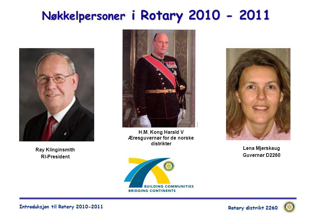 Rotary distrikt 2260 Introduksjon til Rotary 2010-2011 Nøkkelpersoner i Rotary 2010 - 2011 Ray Klinginsmith RI-President Lena Mjerskaug Guvernør D2260 H.M.