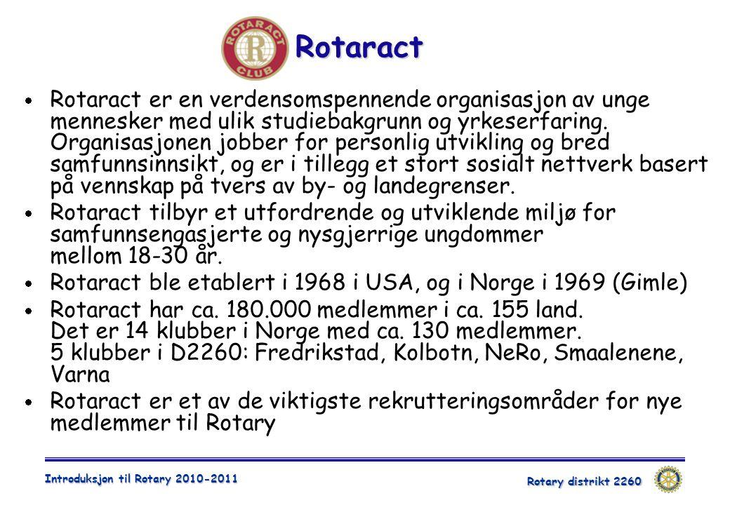 Rotary distrikt 2260 Introduksjon til Rotary 2010-2011 Rotaract  Rotaract er en verdensomspennende organisasjon av unge mennesker med ulik studiebakgrunn og yrkeserfaring.
