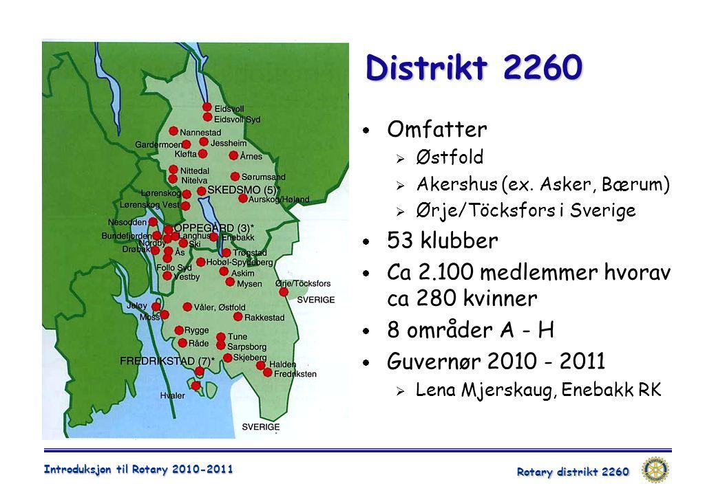 Rotary distrikt 2260 Introduksjon til Rotary 2010-2011 Distrikt 2260  Omfatter  Østfold  Akershus (ex. Asker, Bærum)  Ørje/Töcksfors i Sverige  5