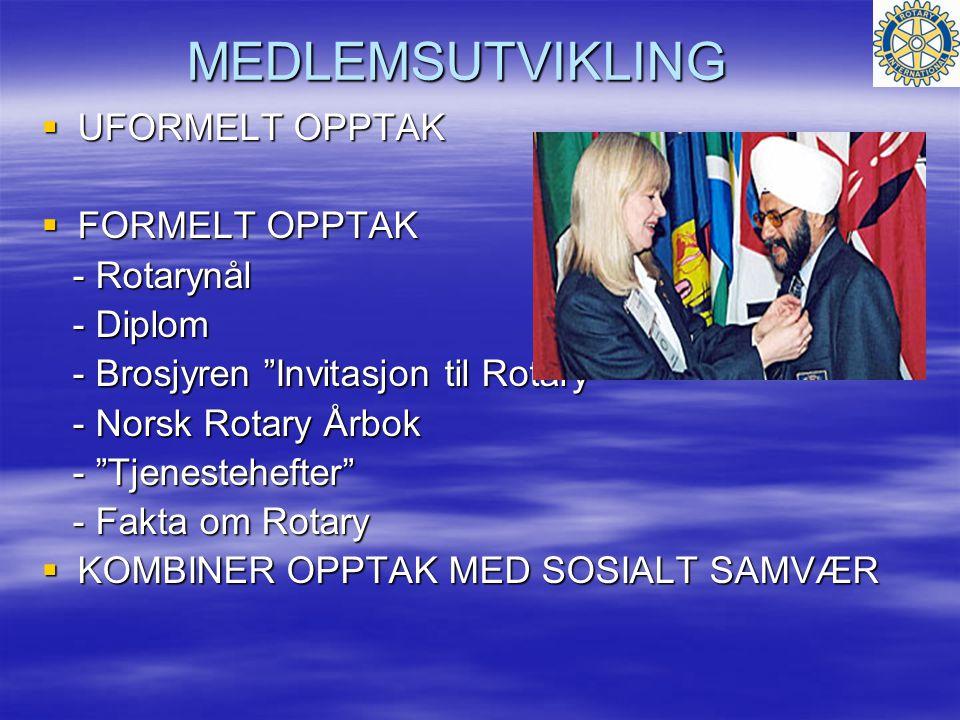 MEDLEMSUTVIKLING  UFORMELT OPPTAK  FORMELT OPPTAK - Rotarynål - Rotarynål - Diplom - Diplom - Brosjyren Invitasjon til Rotary - Brosjyren Invitasjon til Rotary - Norsk Rotary Årbok - Norsk Rotary Årbok - Tjenestehefter - Tjenestehefter - Fakta om Rotary - Fakta om Rotary  KOMBINER OPPTAK MED SOSIALT SAMVÆR