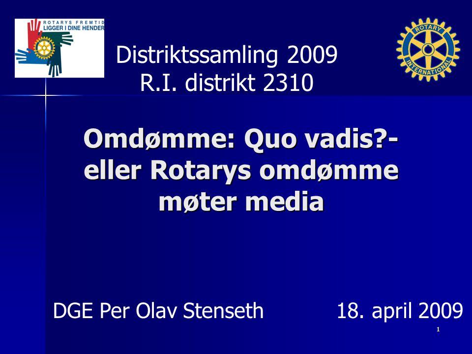 Omdømme: Quo vadis - eller Rotarys omdømme møter media Distriktssamling 2009 R.I.