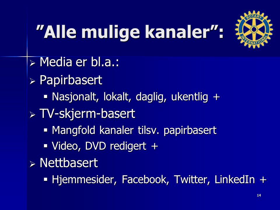 Alle mulige kanaler :  Media er bl.a.:  Papirbasert  Nasjonalt, lokalt, daglig, ukentlig +  TV-skjerm-basert  Mangfold kanaler tilsv.