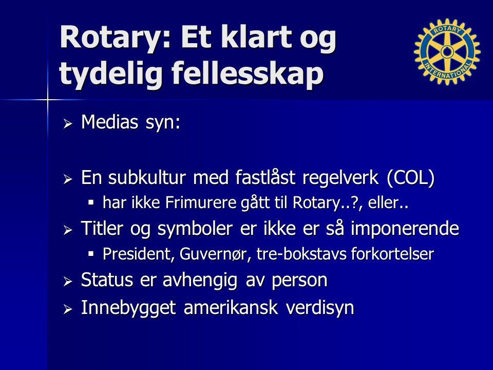 Rotary: Et klart og tydelig fellesskap  Medias syn:  En subkultur med fastlåst regelverk (COL)  har ikke Frimurere gått til Rotary.. , eller..