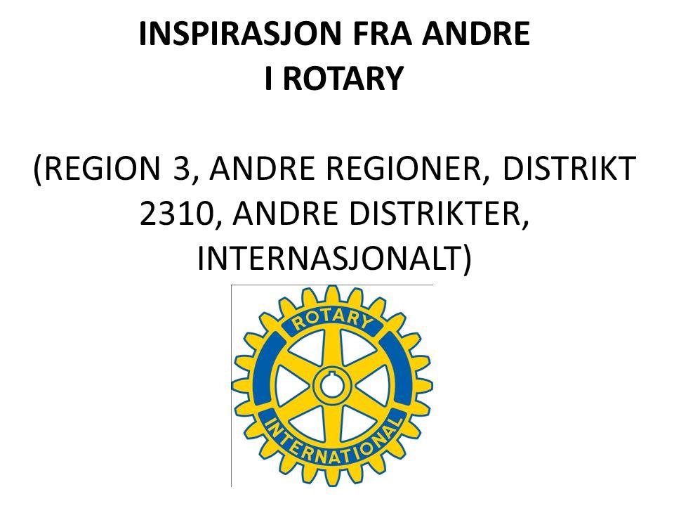 INSPIRASJON FRA ANDRE I ROTARY (REGION 3, ANDRE REGIONER, DISTRIKT 2310, ANDRE DISTRIKTER, INTERNASJONALT)