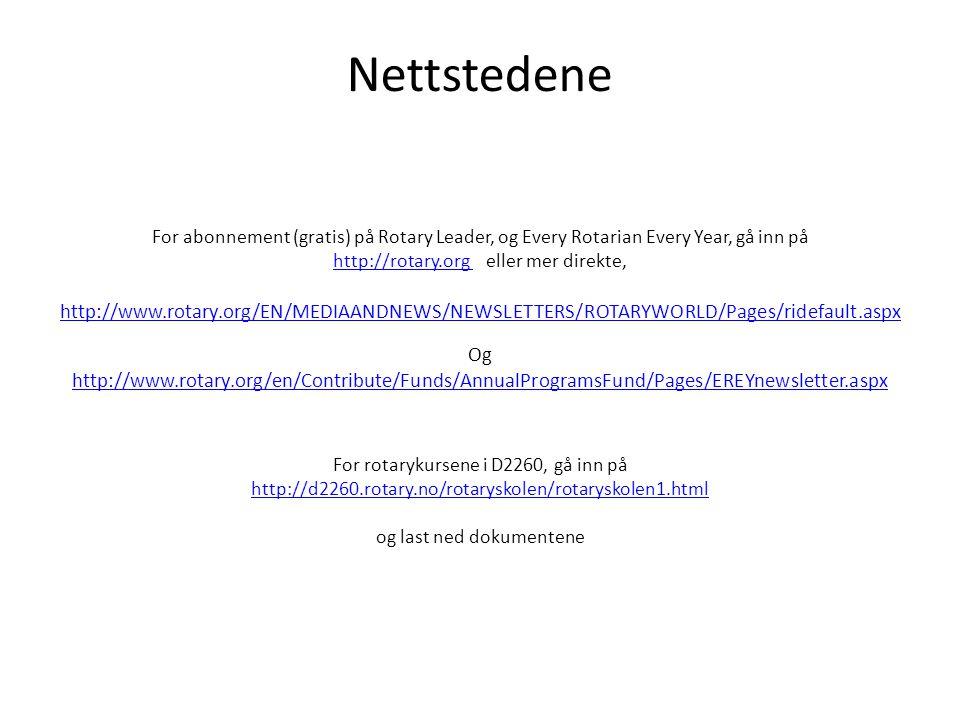 Nettstedene For abonnement (gratis) på Rotary Leader, og Every Rotarian Every Year, gå inn på http://rotary.org http://rotary.org eller mer direkte, http://www.rotary.org/EN/MEDIAANDNEWS/NEWSLETTERS/ROTARYWORLD/Pages/ridefault.aspx Og http://www.rotary.org/en/Contribute/Funds/AnnualProgramsFund/Pages/EREYnewsletter.aspx For rotarykursene i D2260, gå inn på http://d2260.rotary.no/rotaryskolen/rotaryskolen1.html og last ned dokumentene