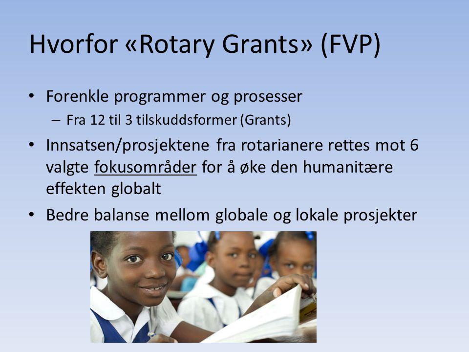 Hvorfor «Rotary Grants» (FVP) Forenkle programmer og prosesser – Fra 12 til 3 tilskuddsformer (Grants) Innsatsen/prosjektene fra rotarianere rettes mo