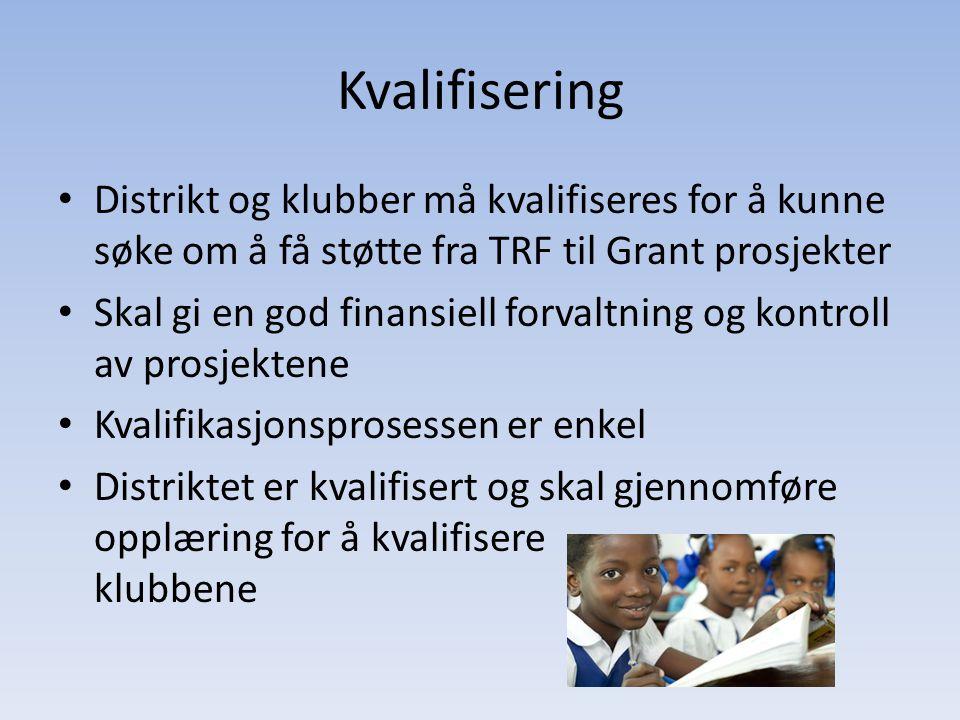Kvalifisering Distrikt og klubber må kvalifiseres for å kunne søke om å få støtte fra TRF til Grant prosjekter Skal gi en god finansiell forvaltning o