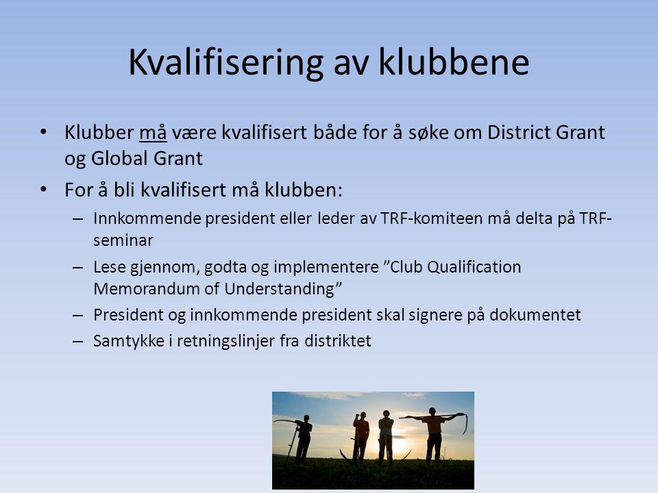 Kvalifisering av klubbene Klubber må være kvalifisert både for å søke om District Grant og Global Grant For å bli kvalifisert må klubben: – Innkommend