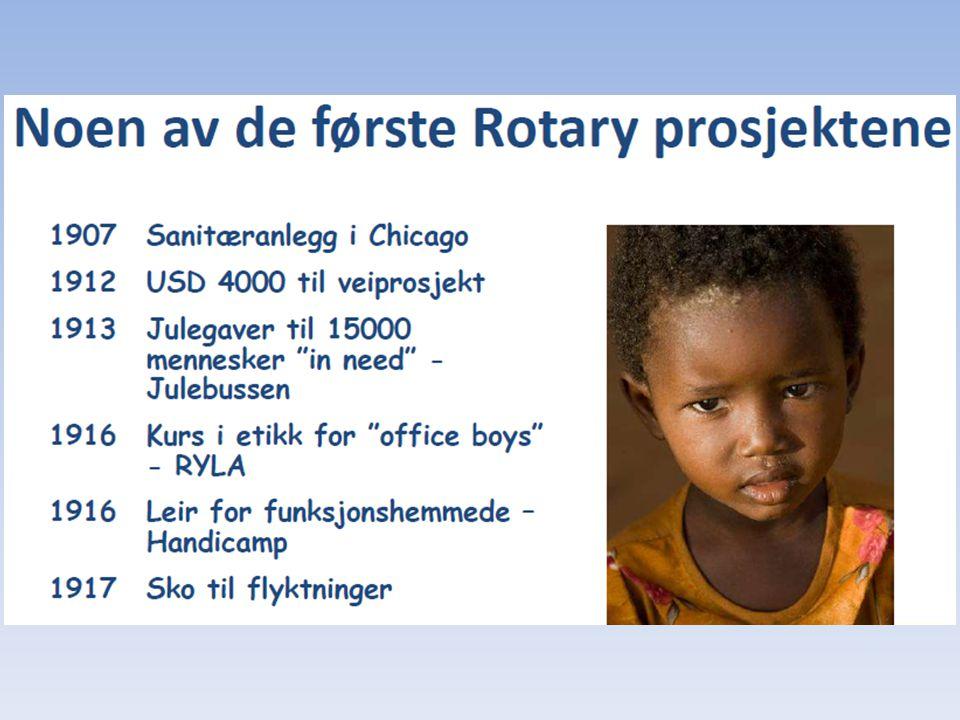 Hva er Rotary Foundation Humanitært arbeid – en av bærebjelkene for Rotary Rotary Foundation oppstart 1917 Internasjonalt engasjement fra 1921 Etablert som egen stiftelse fra 1928 Størst utvikling etter andre verdenskrig Enorm innsats for å utrydde Polio siden 1985
