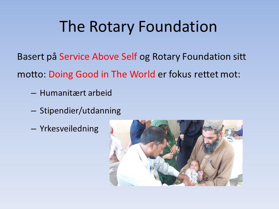 The Rotary Foundation Basert på Service Above Self og Rotary Foundation sitt motto: Doing Good in The World er fokus rettet mot: – Humanitært arbeid –