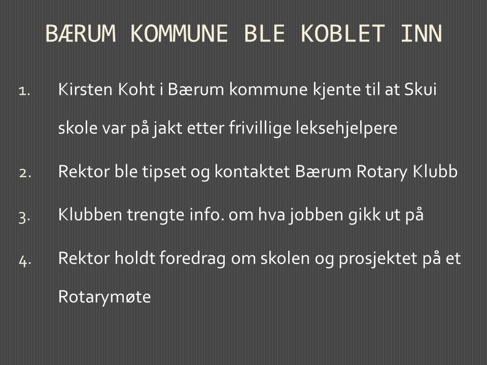 BÆRUM KOMMUNE BLE KOBLET INN 1. Kirsten Koht i Bærum kommune kjente til at Skui skole var på jakt etter frivillige leksehjelpere 2. Rektor ble tipset