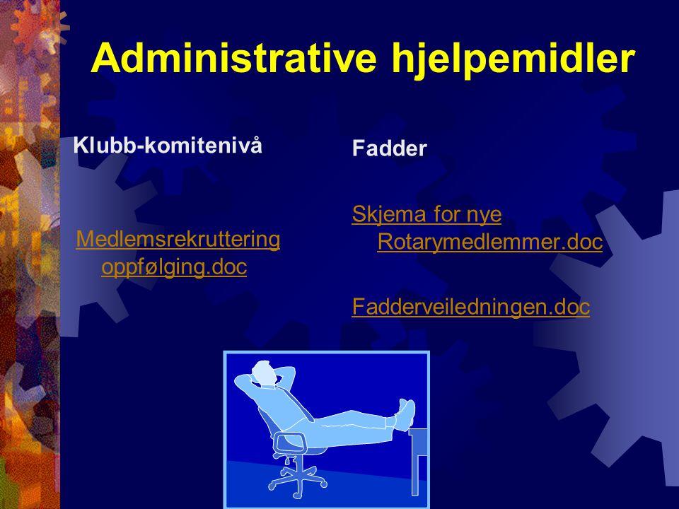 Administrative hjelpemidler Klubb-komitenivå Medlemsrekruttering oppfølging.doc Fadder Skjema for nye Rotarymedlemmer.doc Fadderveiledningen.doc