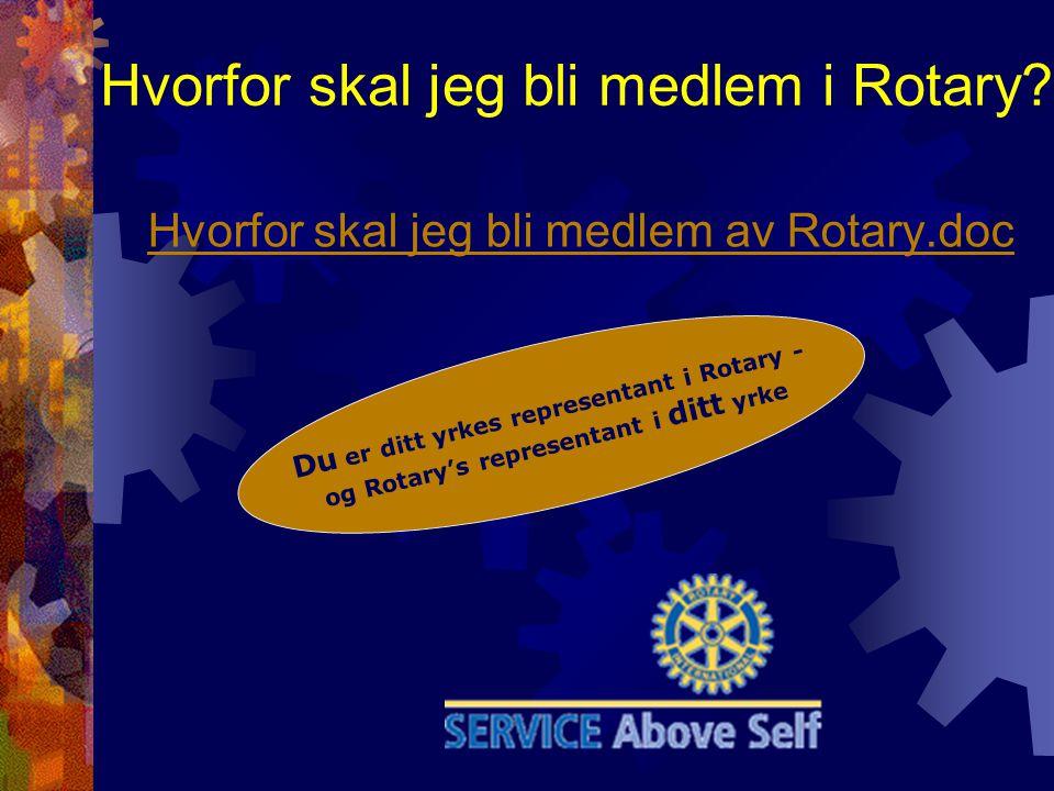 Hvorfor skal jeg bli medlem i Rotary? Hvorfor skal jeg bli medlem av Rotary.doc Du er ditt yrkes representant i Rotary - og Rotary's representant i di