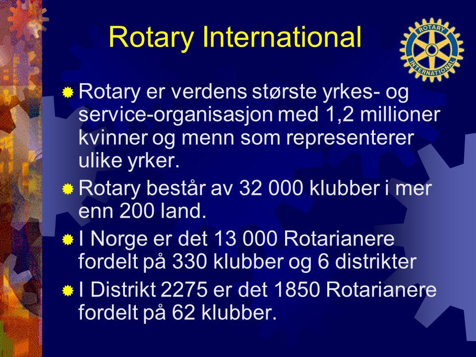 Rotary International  Rotary er verdens største yrkes- og service-organisasjon med 1,2 millioner kvinner og menn som representerer ulike yrker.  Rot