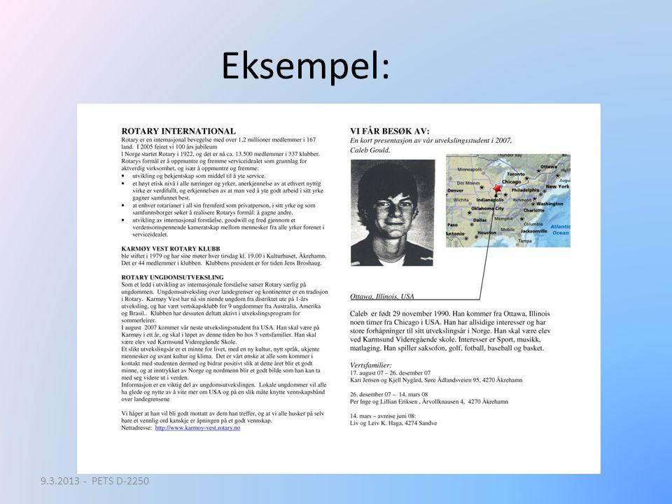Eksempel: 9.3.2013 - PETS D-2250