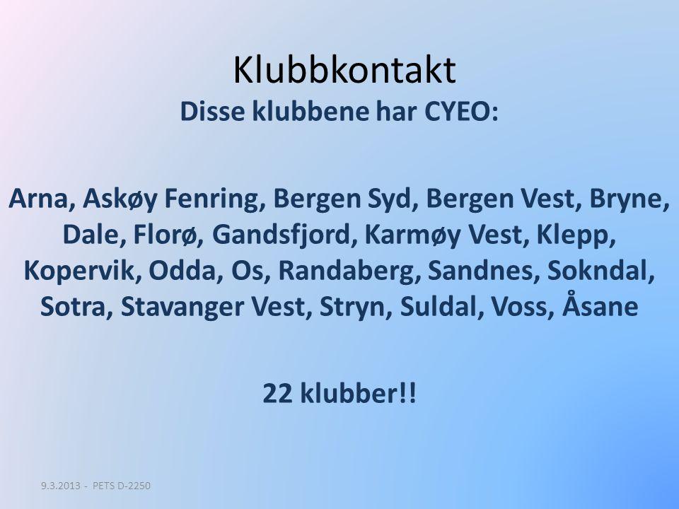 Klubbkontakt Disse klubbene har CYEO: Arna, Askøy Fenring, Bergen Syd, Bergen Vest, Bryne, Dale, Florø, Gandsfjord, Karmøy Vest, Klepp, Kopervik, Odda