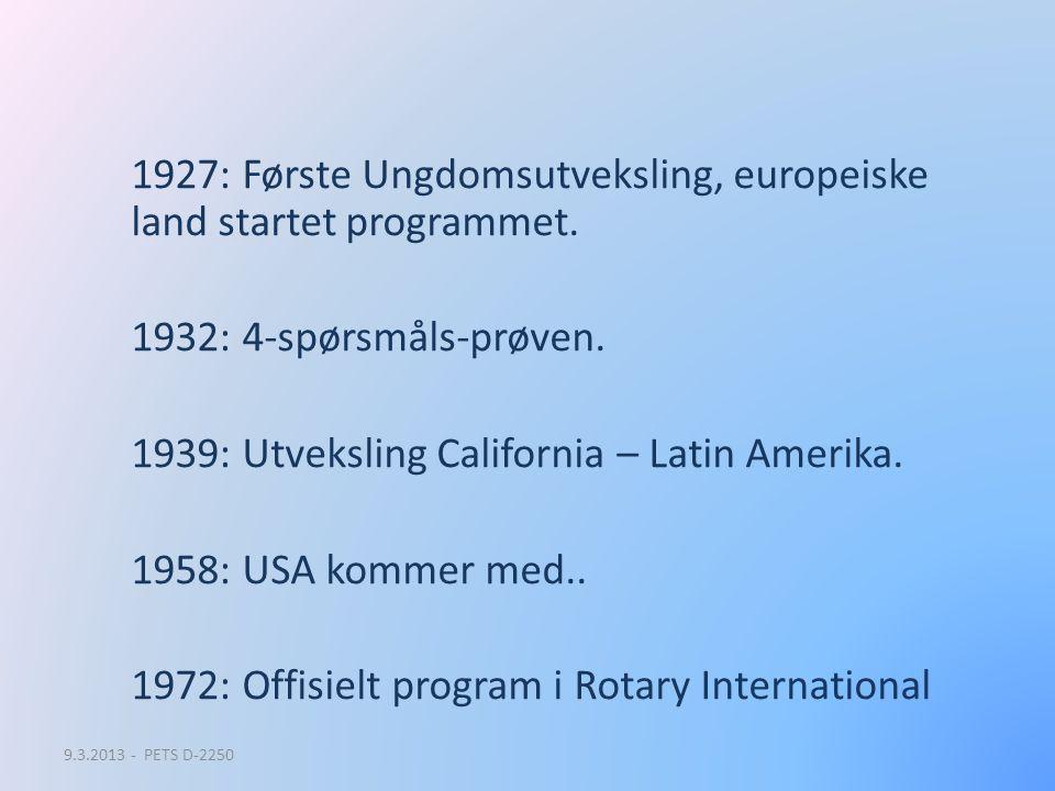 1927: Første Ungdomsutveksling, europeiske land startet programmet. 1932: 4-spørsmåls-prøven. 1939: Utveksling California – Latin Amerika. 1958: USA k