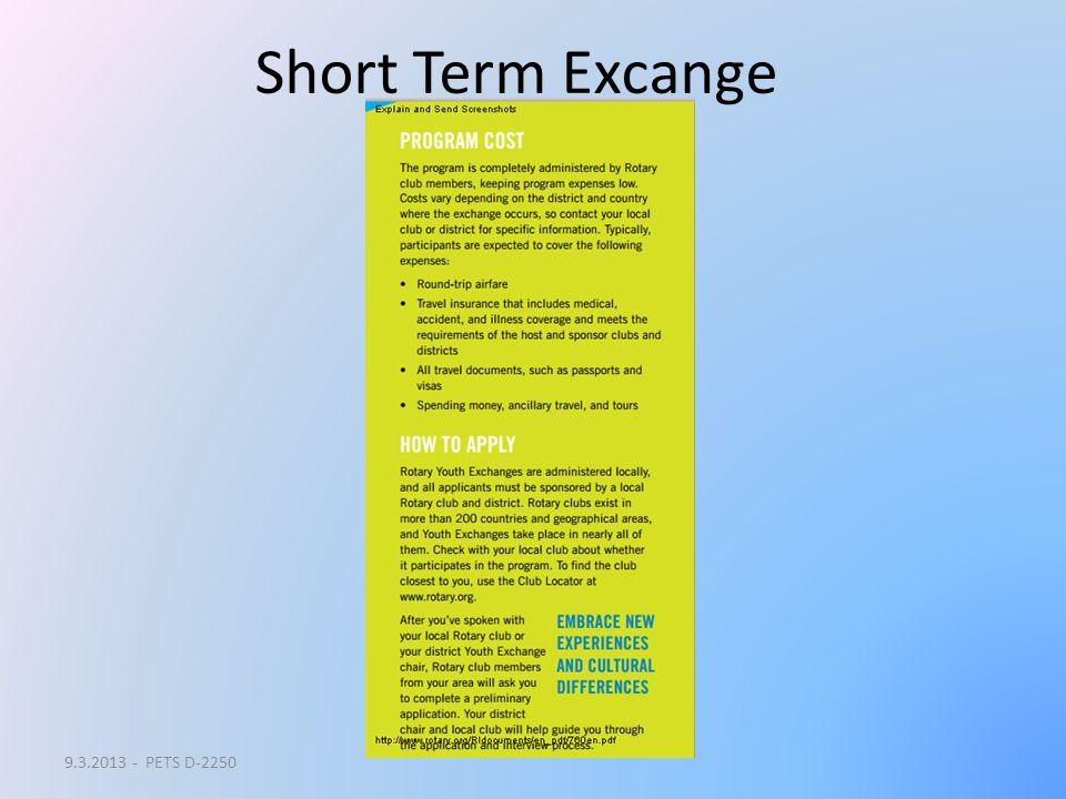 Short Term Excange 9.3.2013 - PETS D-2250