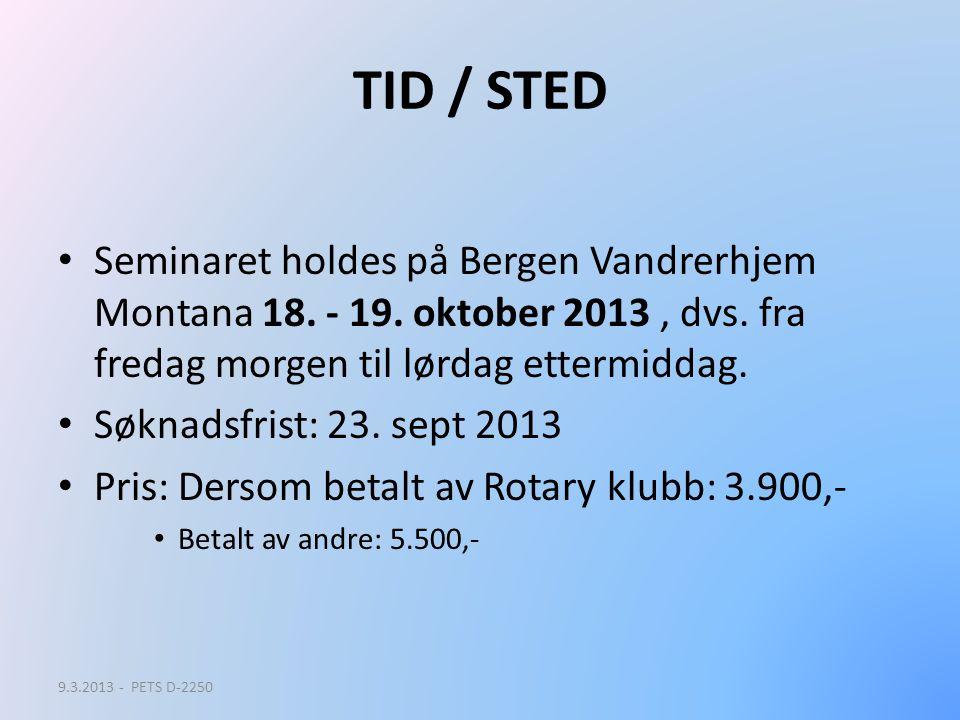TID / STED Seminaret holdes på Bergen Vandrerhjem Montana 18. - 19. oktober 2013, dvs. fra fredag morgen til lørdag ettermiddag. Søknadsfrist: 23. sep