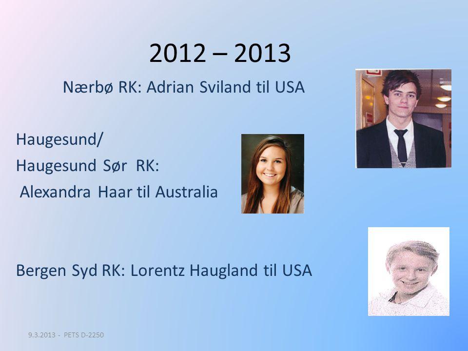 2012 – 2013 Nærbø RK: Adrian Sviland til USA Haugesund/ Haugesund Sør RK: Alexandra Haar til Australia Bergen Syd RK: Lorentz Haugland til USA 9.3.201