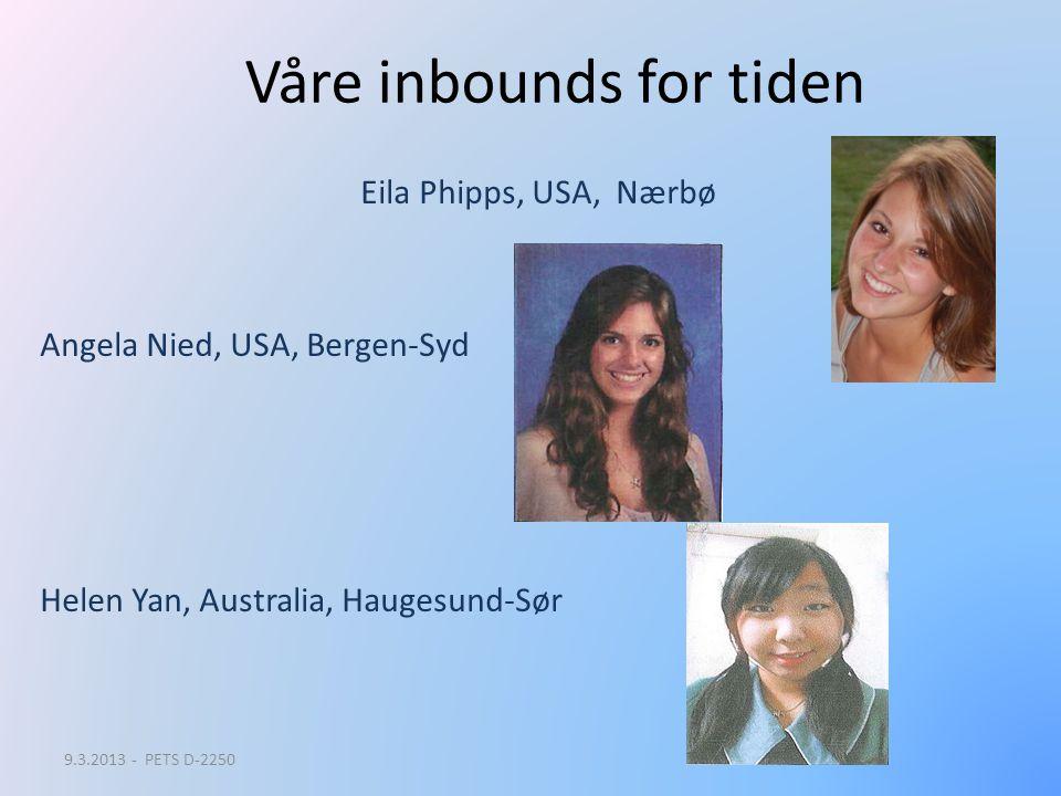 Våre inbounds for tiden Eila Phipps, USA, Nærbø Angela Nied, USA, Bergen-Syd Helen Yan, Australia, Haugesund-Sør 9.3.2013 - PETS D-2250