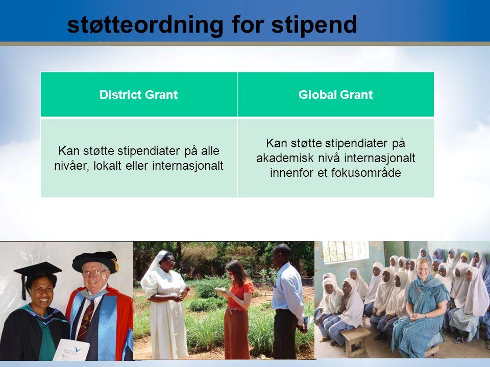 11 støtteordning for stipend District GrantGlobal Grant Kan støtte stipendiater på alle nivåer, lokalt eller internasjonalt Kan støtte stipendiater på akademisk nivå internasjonalt innenfor et fokusområde