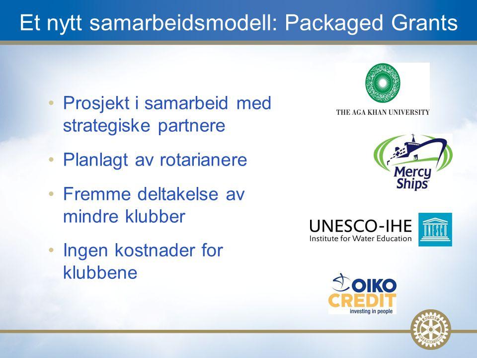15 Et nytt samarbeidsmodell: Packaged Grants Prosjekt i samarbeid med strategiske partnere Planlagt av rotarianere Fremme deltakelse av mindre klubber Ingen kostnader for klubbene