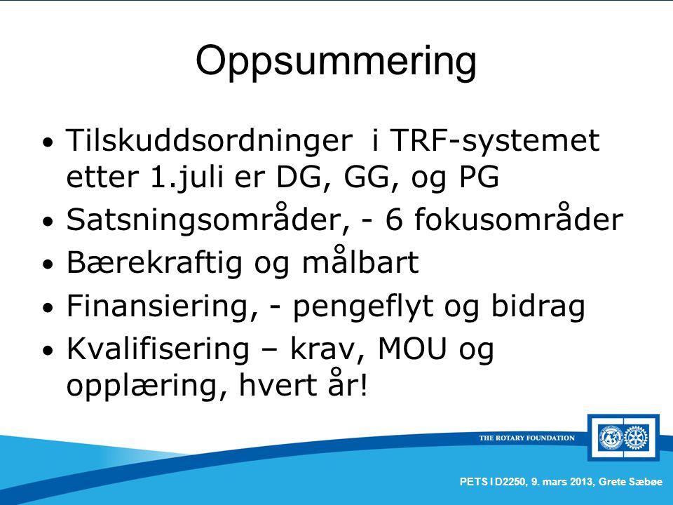Oppsummering Tilskuddsordninger i TRF-systemet etter 1.juli er DG, GG, og PG Satsningsområder, - 6 fokusområder Bærekraftig og målbart Finansiering, - pengeflyt og bidrag Kvalifisering – krav, MOU og opplæring, hvert år.