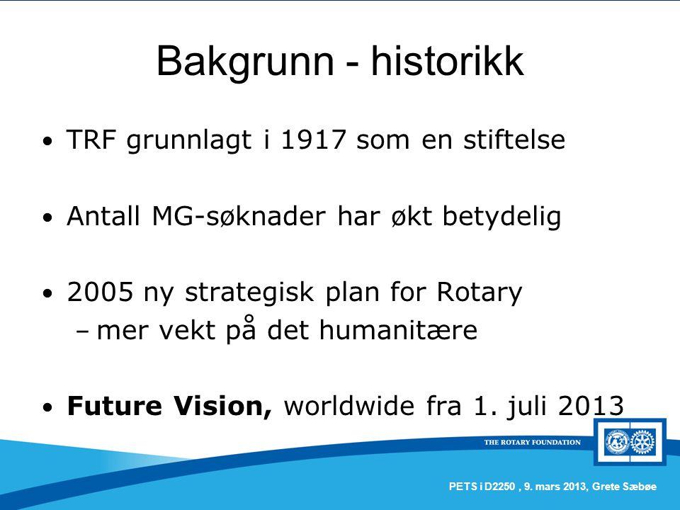 Bakgrunn - historikk TRF grunnlagt i 1917 som en stiftelse Antall MG-søknader har økt betydelig 2005 ny strategisk plan for Rotary – mer vekt på det humanitære Future Vision, worldwide fra 1.