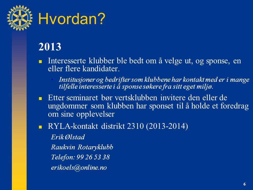 6 Hvordan. 2013 Interesserte klubber ble bedt om å velge ut, og sponse, en eller flere kandidater.
