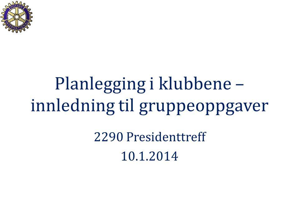 Planlegging i klubbene – innledning til gruppeoppgaver 2290 Presidenttreff 10.1.2014