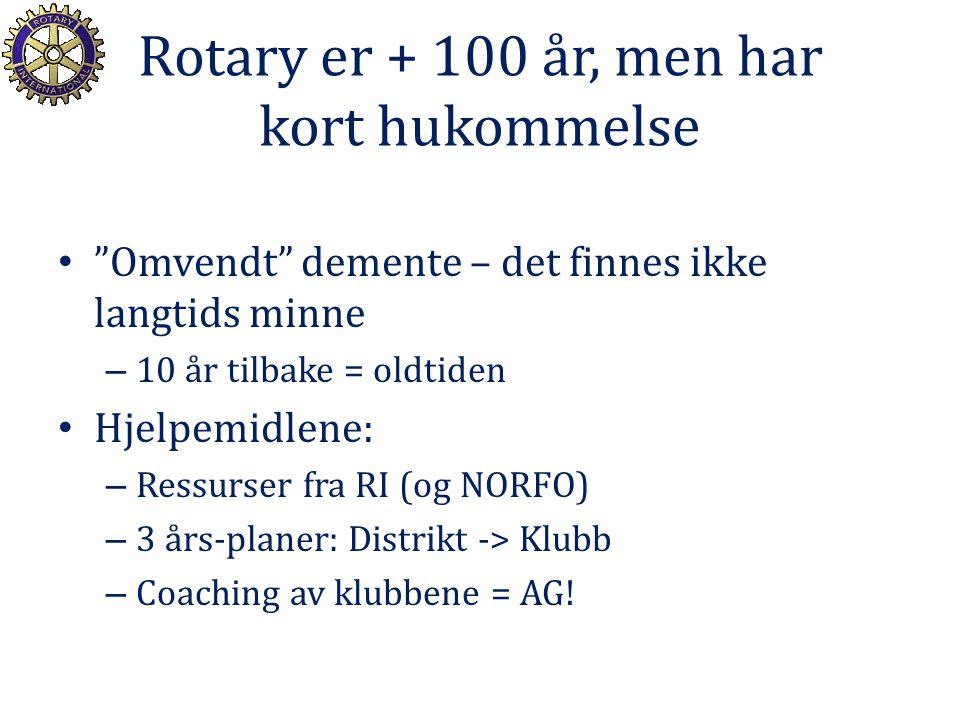 Rotary er + 100 år, men har kort hukommelse Omvendt demente – det finnes ikke langtids minne – 10 år tilbake = oldtiden Hjelpemidlene: – Ressurser fra RI (og NORFO) – 3 års-planer: Distrikt -> Klubb – Coaching av klubbene = AG!