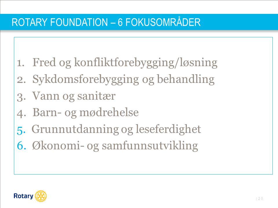 | 20 ROTARY FOUNDATION – 6 FOKUSOMRÅDER 1.Fred og konfliktforebygging/løsning 2.Sykdomsforebygging og behandling 3.Vann og sanitær 4.Barn- og mødrehel