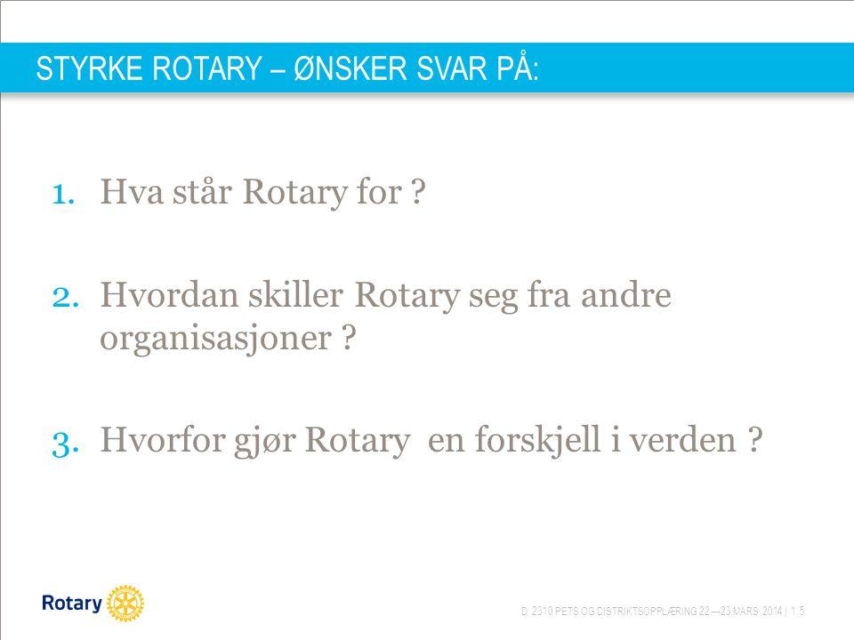 D 2310 PETS OG DISTRIKTSOPPLÆRING 22.—23.MARS 2014 | 15 STYRKE ROTARY – ØNSKER SVAR PÅ: 1.Hva står Rotary for ? 2.Hvordan skiller Rotary seg fra andre