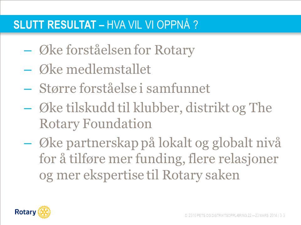 D 2310 PETS OG DISTRIKTSOPPLÆRING 22.—23.MARS 2014 | 33 SLUTT RESULTAT – HVA VIL VI OPPNÅ ? – Øke forståelsen for Rotary – Øke medlemstallet – Større